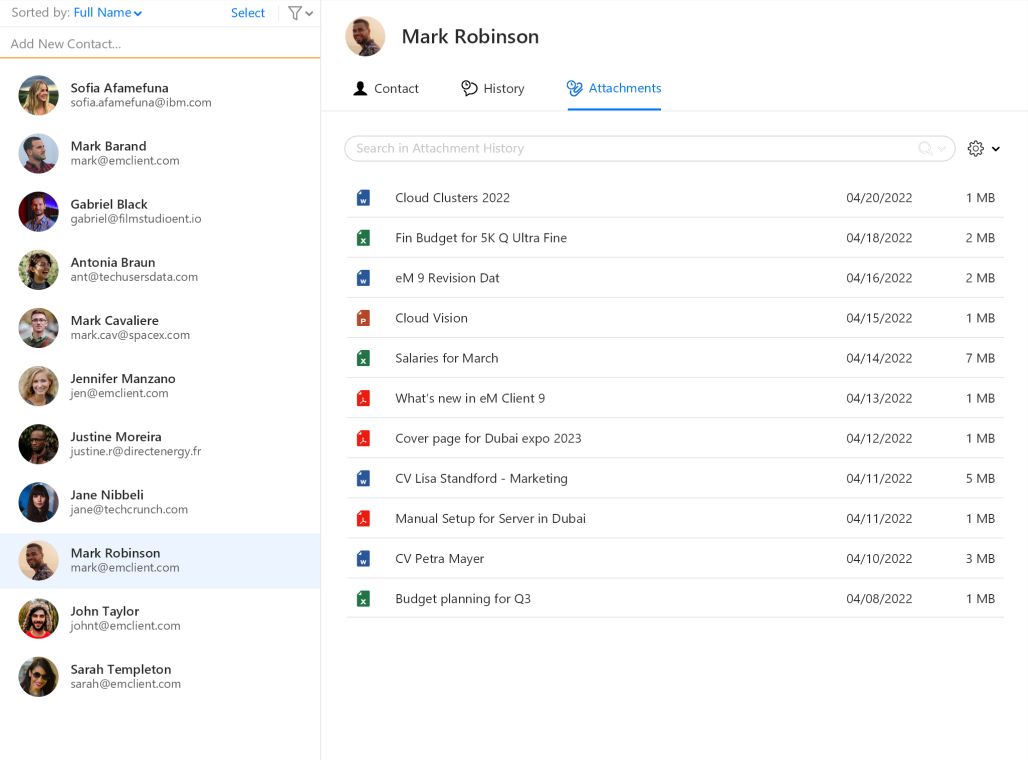 Attachments history in contacts
