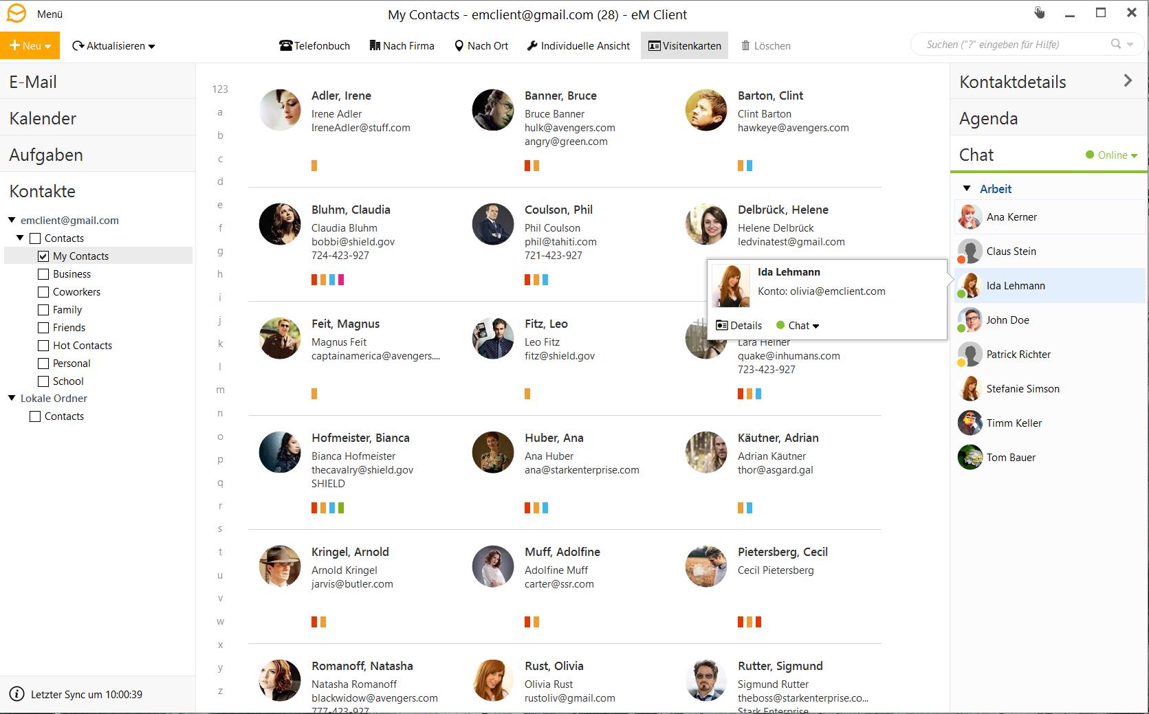 Screenshots Benutzeroberfläche Em Client